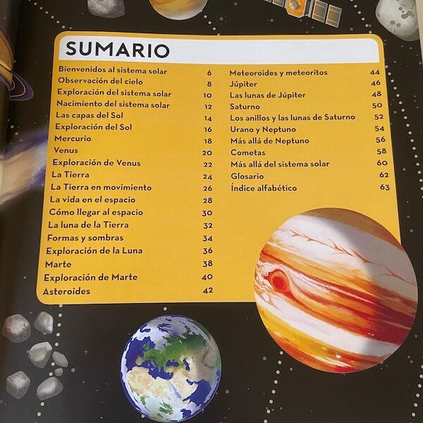 Construyo el sistema solar, Larousse (índice)